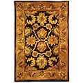 Handmade Classic Regal Dark Plum/ Gold Wool Rug (2' x 3')