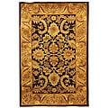 Handmade Classic Regal Dark Plum/ Gold Wool Rug (4' x 6')