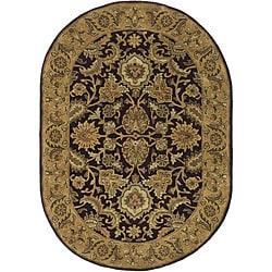 Safavieh Handmade Classic Regal Dark Plum/ Gold Wool Rug (7'6 x 9'6 Oval)