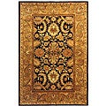 Handmade Classic Regal Dark Plum/ Gold Wool Rug (5' x 8')