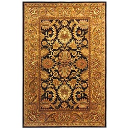 Handmade Classic Regal Dark Plum/ Gold Wool Rug (6' x 9')