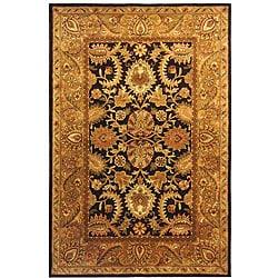 Handmade Classic Regal Dark Plum/ Gold Wool Rug (7'6 x 9'6)