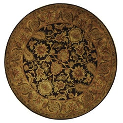 Handmade Classic Regal Dark Plum/ Gold Wool Rug (6' Round)