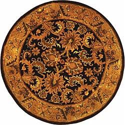 Safavieh Handmade Classic Regal Dark Plum/ Gold Wool Rug (8' Round)