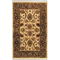 Handmade Classic Jaipur Ivory/ Red Wool Rug (6' x 9')