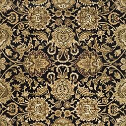 Handmade Traditions Black/ Light Brown Wool Rug (5' x 8')