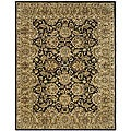 Handmade Traditions Black/ Light Brown Wool Rug (5' x 8')