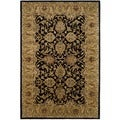 Safavieh Handmade Traditions Black/ Light Brown Wool Rug (6' x 9')