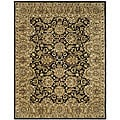 Handmade Traditions Black/ Light Brown Wool Rug (7'6 x 9'6)