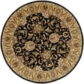 Handmade Traditions Black/ Light Brown Wool Rug (8' Round)