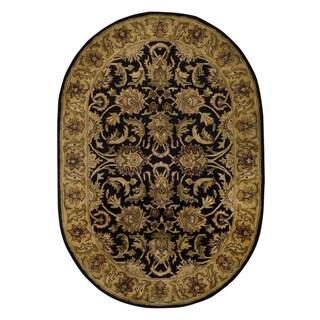 Safavieh Handmade Traditions Black/ Light Brown Wool Rug (4'6 x 6'6 Oval)