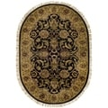 Handmade Traditions Black/ Light Brown Wool Rug (4'6 x 6'6 Oval)