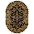 Handmade Traditions Black/ Light Brown Wool Rug (7'6 x 9'6 Oval)