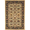 Safavieh Handmade Classic Heirloom Ivory/ Navy Wool Rug (5' x 8')