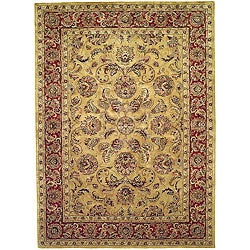 Handmade Amol Gold/ Red Wool Rug (6' x 9')