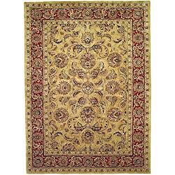 Handmade Amol Gold/ Red Wool Rug (8'3 x 11')
