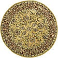 Handmade Amol Gold/ Red Wool Rug (6' Round)
