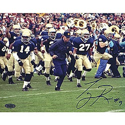 Tony Rice Autographed Lou Holtz Running With Team Horizontal Photo