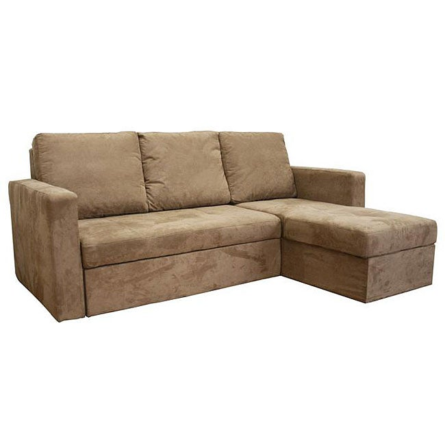 Linden convertible tan microfiber sectional sofa bed for Sectional sofa bed overstock