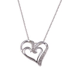 Sterling Silver Diamond Accent Open Heart Necklace (I-J, I3)