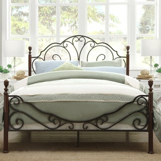 TRIBECCA HOME LeAnn Graceful Scroll Bronze Iron Queen-sized Bed
