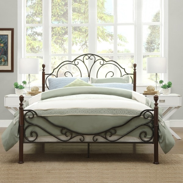 Tribecca Home Leann Graceful Scroll Bronze Iron Bed Frame King