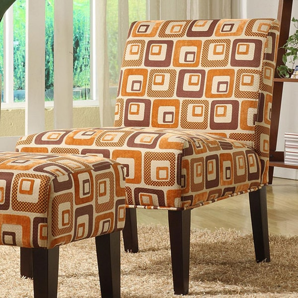 Tribecca Home Orange Cube Print Lounge Chair