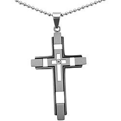 Stainless Steel Diamond Accent Cross Necklace