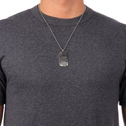 Stainless Steel Men's 1/5ct TDW Black Diamond Dog Tag Necklace