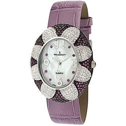 Peugeot Women's Purple Oval Flower Watch