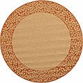 Indoor/ Outdoor Natural/ Terracotta Rug (5'3 Round)