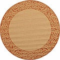 Indoor/ Outdoor Natural/ Terracotta Rug (6'7 Round)