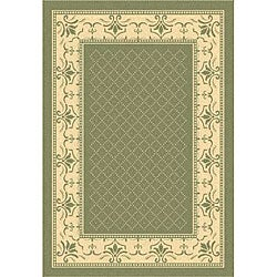 Safavieh Indoor/ Outdoor Royal Olive/ Natural Rug (6'7 x 9'6)