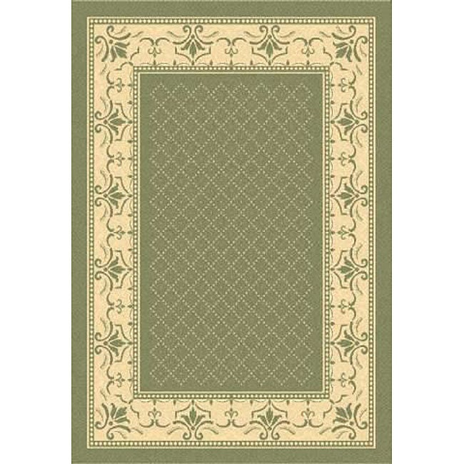 Safavieh Indoor/ Outdoor Royal Olive/ Natural Rug (9' x 12')