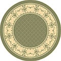 Safavieh Indoor/ Outdoor Royal Olive/ Natural Rug (6'7 Round)