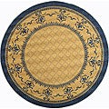 Safavieh Indoor/ Outdoor Royal Natural/ Blue Rug (6'7 Round)