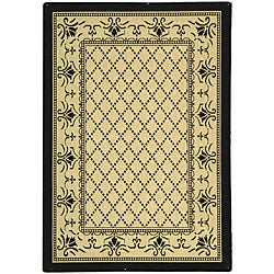 Indoor/ Outdoor Royal Sand/ Black Rug (2'7 x 5')