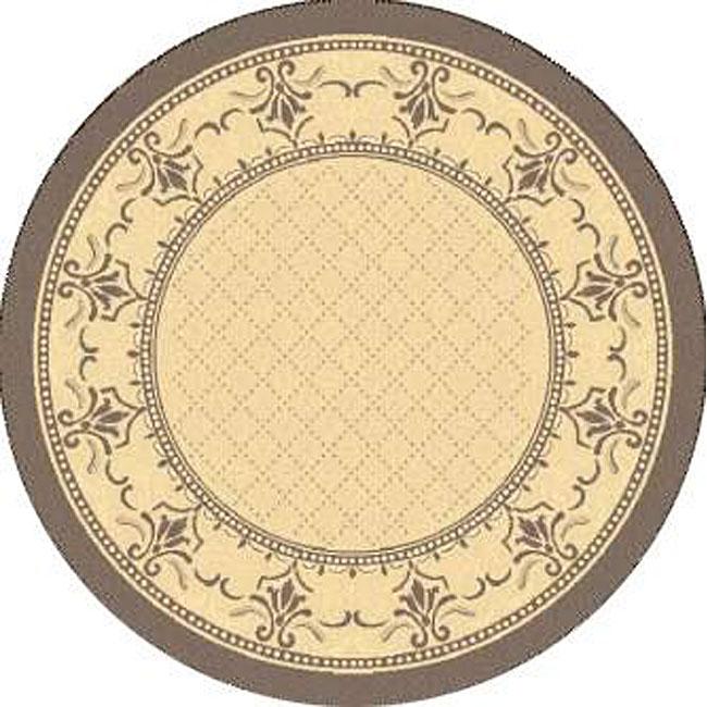 Safavieh Indoor/ Outdoor Royal Natural/ Brown Rug (6'7 Round)