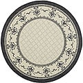 Indoor/ Outdoor Royal Sand/ Black Rug (6'7 Round)