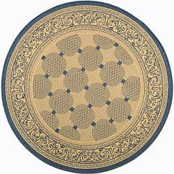 Safavieh Indoor/ Outdoor Bay Natural/ Blue Rug (6'7 Round)