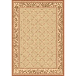 Indoor/ Outdoor Bay Natural/ Terracotta Rug (7'10 x 11')