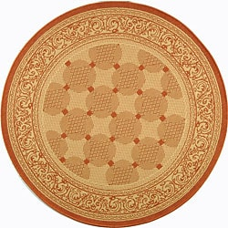 Safavieh Indoor/ Outdoor Bay Natural/ Terracotta Rug (6'7 Round)