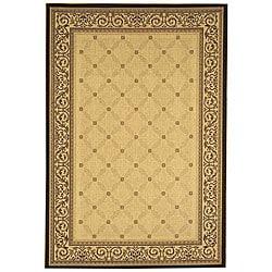 Safavieh Indoor/ Outdoor Bay Sand/ Black Rug (4' x 5'7)