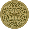 Indoor/ Outdoor Resorts Natural/ Olive Rug (5'3 Round)
