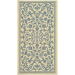 Safavieh Indoor/ Outdoor Resorts Natural/ Blue Rug (2'7 x 5')