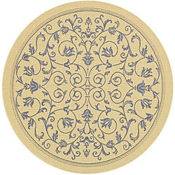 Indoor/ Outdoor Resorts Natural/ Blue Rug (5'3 Round)