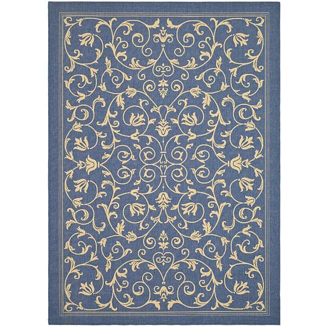 Safavieh Indoor/ Outdoor Resorts Blue/ Natural Rug (5'3 x 7'7)