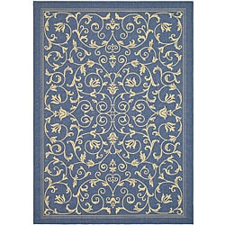 Indoor/ Outdoor Resorts Blue/ Natural Rug (5'3 x 7'7)