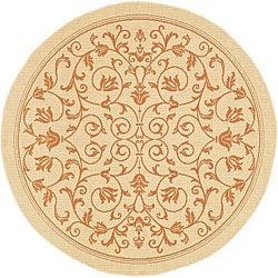 Safavieh Indoor/ Outdoor Resorts Natural/ Terracotta Rug (5'3 Round)