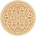 Indoor/ Outdoor Resorts Natural/ Terracotta Rug (5'3 Round)